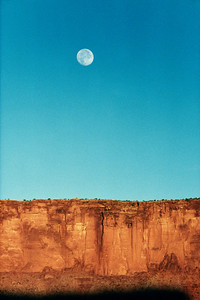 Hardscrabble campsite full moon on the White Rim trail in Canyonlands National Park