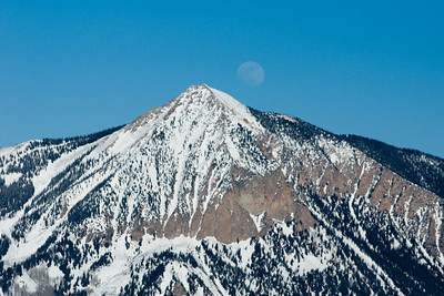 Elk Creek moonrise behind Mt Crested Butte