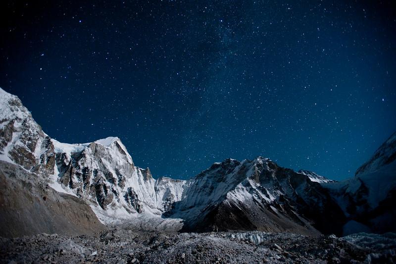 A sky full of stars above the Khumbu glacier in Nepal