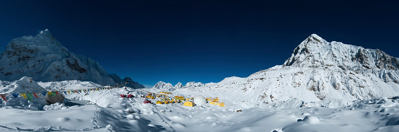 Everest base camp covered in snow