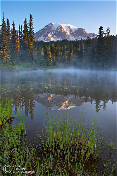"<font color=""#FFFFFF"" size=""4"" face=""Verdana, Arial, Helvetica, sans-serif"">Reflection Lake Sunrise</font><br> Mt Rainier, Washington"