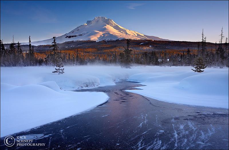 "<font color=""#FFFFFF"" size=""4"" face=""Verdana, Arial, Helvetica, sans-serif"">Frozen Mt Hood Morning</font><br> Mt Hood, Oregon"