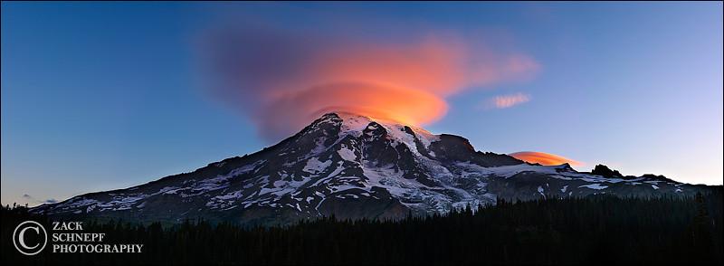 """<font color=""""#FFFFFF"""" size=""""4"""" face=""""Verdana, Arial, Helvetica, sans-serif"""">Lenticular Sunrise</font><br> Mt Rainier, Washington"""