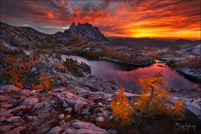 "<font color=""#FFFFFF"" size=""4"" face=""Verdana, Arial, Helvetica, sans-serif"">Blazing Enchantments</font><br> Enchantment Lakes, Washington"