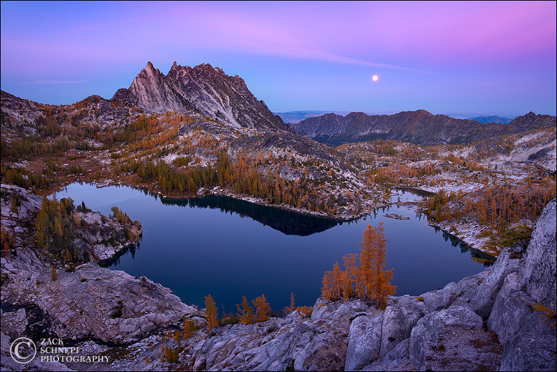 "<font color=""#FFFFFF"" size=""4"" face=""Verdana, Arial, Helvetica, sans-serif"">Moonrise Over the Enchantments</font><br> Enchantment Lakes, Washington"