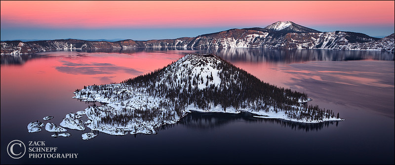 "<font color=""#FFFFFF"" size=""4"" face=""Verdana, Arial, Helvetica, sans-serif"">Winter Wizard Island Sunset</font><br> Crater Lake, Oregon"