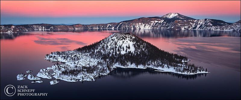 "<font color=""#FFFFFF"" size=""4"" face=""Verdana, Arial, Helvetica, sans-serif"">Winter Wizard Island Sunset</font><br> Crater Lake, Oregon"