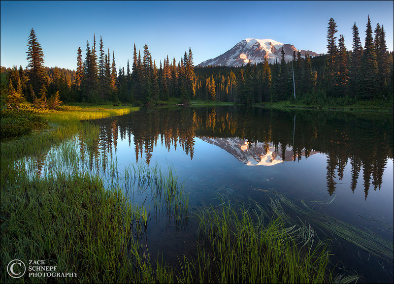 "<font color=""#FFFFFF"" size=""4"" face=""Verdana, Arial, Helvetica, sans-serif"">Pristine Rainier Reflection</font><br> Mt Rainier, Washington"