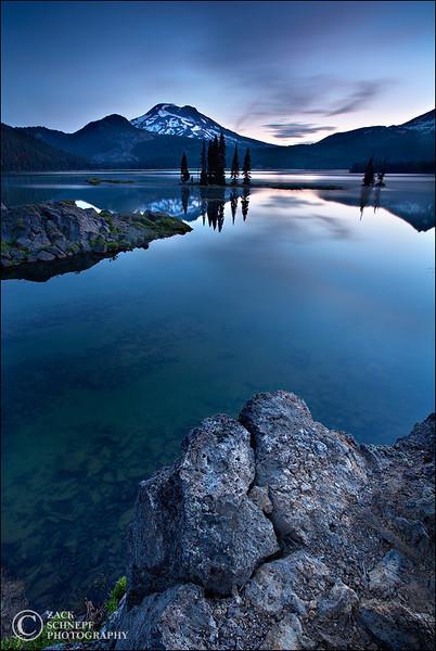 """<font color=""""#FFFFFF"""" size=""""4"""" face=""""Verdana, Arial, Helvetica, sans-serif"""">Sparks Lake Blue Hour</font><br> Sparks Lake, Oregon"""