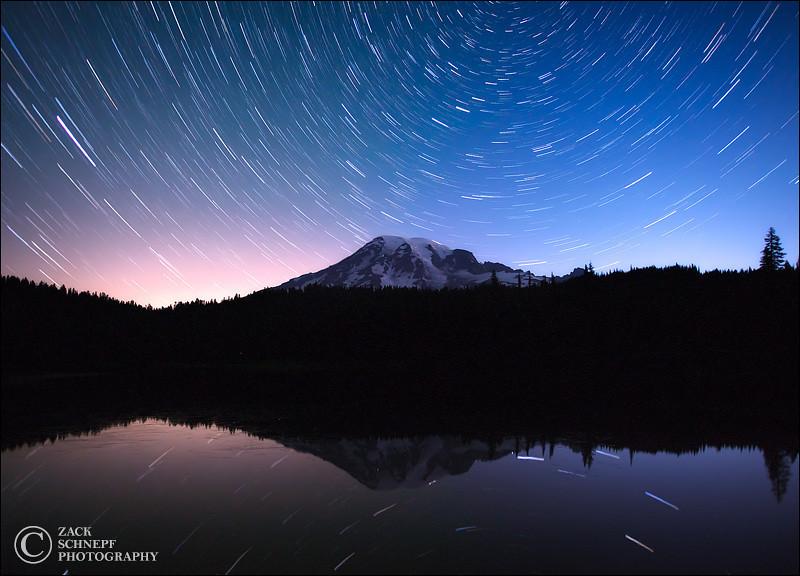 "<font color=""#FFFFFF"" size=""4"" face=""Verdana, Arial, Helvetica, sans-serif"">Reflection Lake Star Trails</font><br> Mt Rainier, Washington"