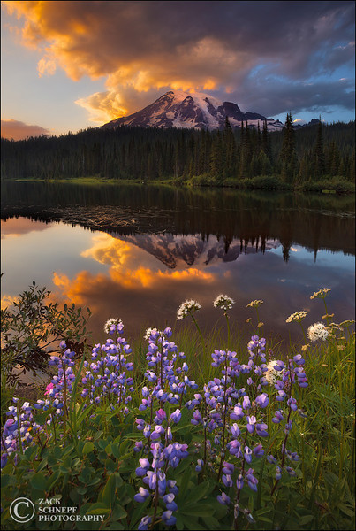 "<font color=""#FFFFFF"" size=""4"" face=""Verdana, Arial, Helvetica, sans-serif"">Reflection Lake Sunset</font><br> Mt Rainier, Washington"