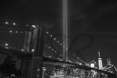 Tribute in Light from DUMBO (Black & White)