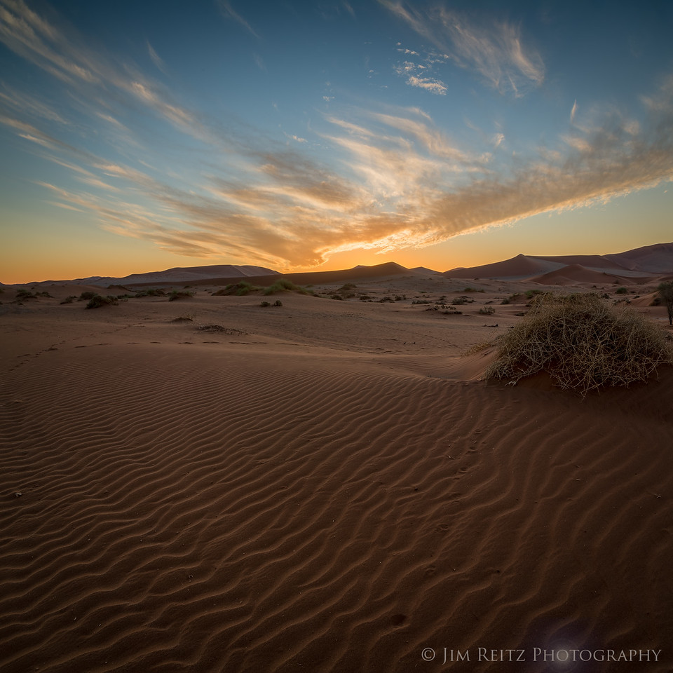 Sand ripples and sunset clouds - Sossusvlei, Namibia.