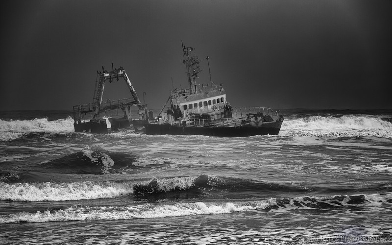 Shipwreck neaer Henties Bay, on the southern end of Namibia's Skeleton Coast.