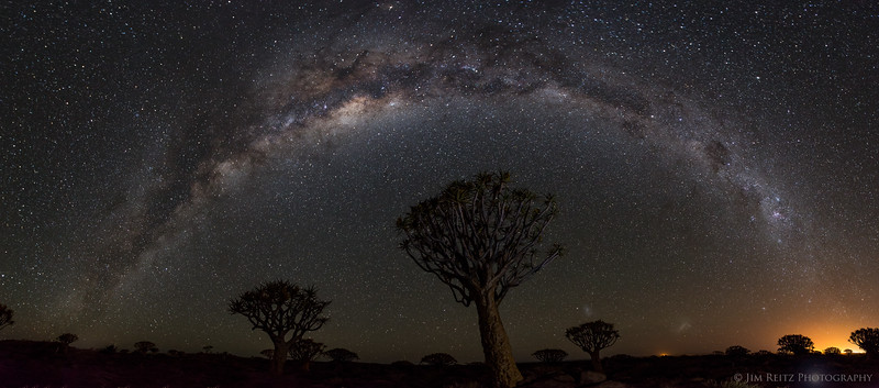 180° panorama of the Milky Way rising over the Quiver Tree forest near Keetmanshoop, Namibia.