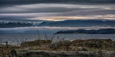 from Esquimalt Lagoon, Olympic Mountains Wa
