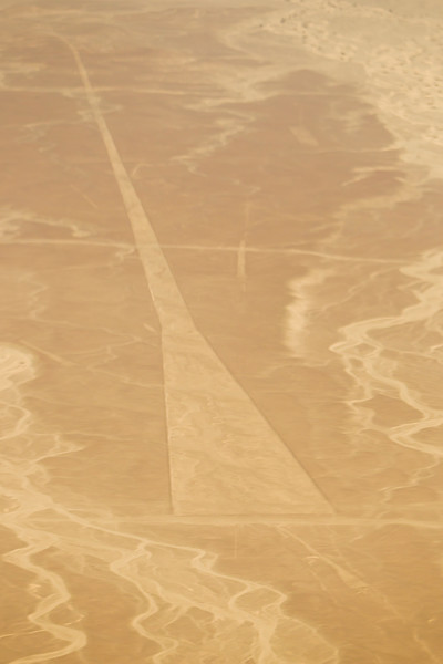 "Aerial view of the ""Trapezoid"" at the mysterious Nazca lines in the pampa plateau desert in Peru."