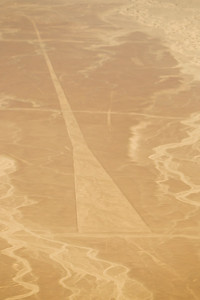 """Aerial view of the """"Trapezoid"""" at the mysterious Nazca lines in the pampa plateau desert in Peru."""