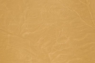 """Aerial view of the """"Monkey"""" at the mysterious Nazca lines in the pampa plateau desert in Peru."""