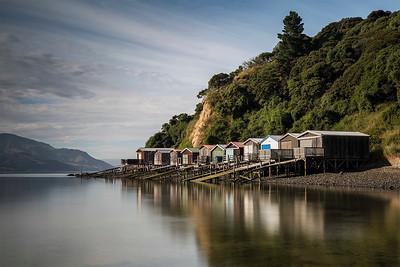 Duvauchelle boat sheds, Banks Peninsula