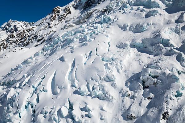 Icefall  Tasman Glacier,  Aoraki Mount Cook National Park.