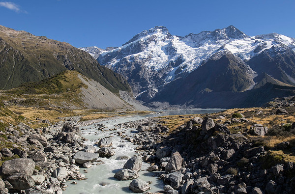 Hooker River flowing from Mueller Lake at the base of the Mueller Glacier -  Mt Cook National Park
