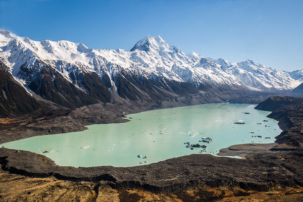 Tasman Lake and Mt Cook
