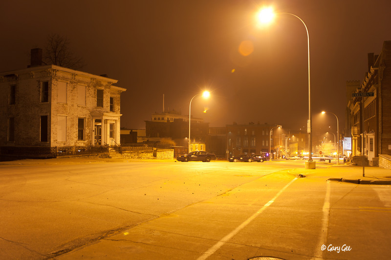 City streets of Burlington Iowa at night