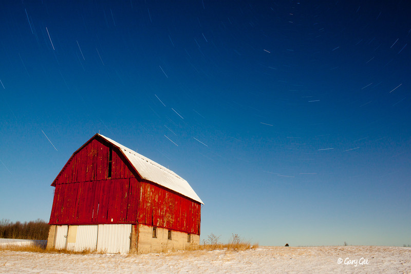Star Trail Photography - Barn in Northern Michigan illuminated by only the moon (22 minute exposure)