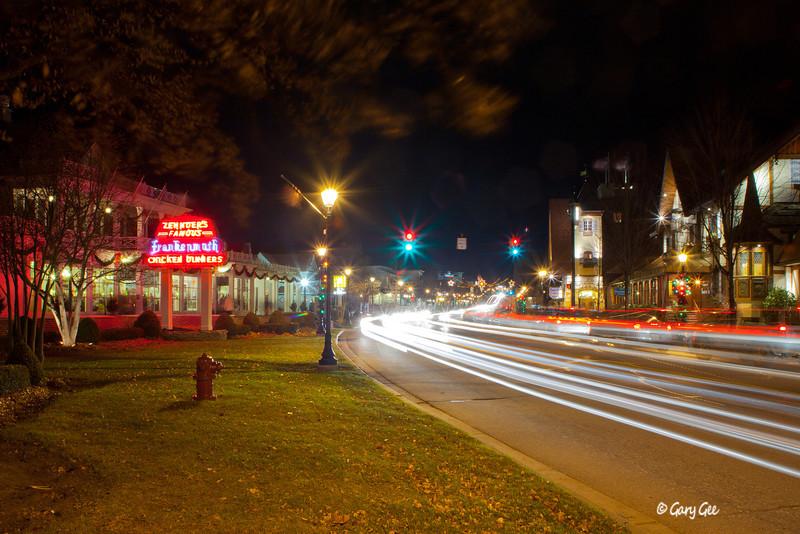 Frankenmuth, MI downtown Zehnder's & Barvarian Inn at night.