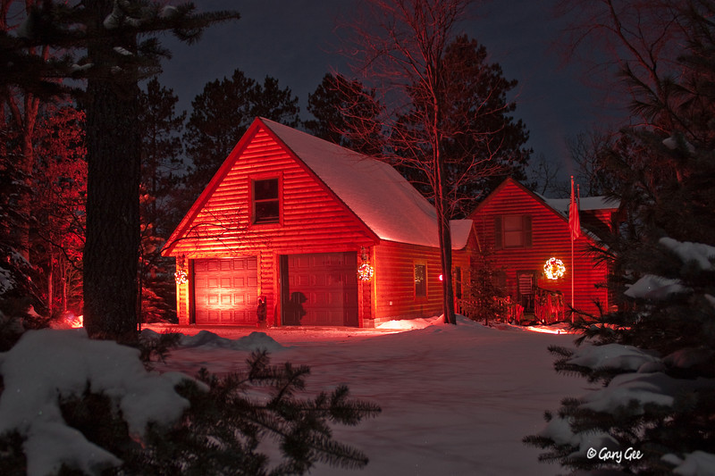 Home at Christmas time on a bright moonlit night