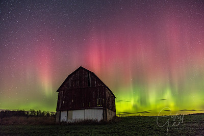 Barn over shadowed by the Aurora in Michigan