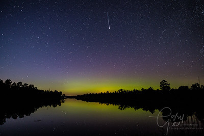 Meteors and Aurora Halo over Lake in Lewiston MI Sept. 12th, 2017