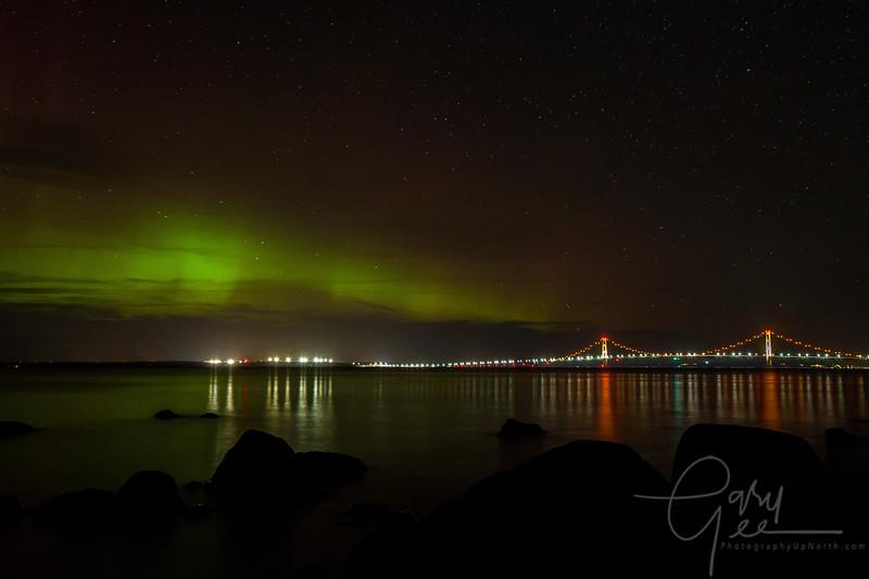 The Mackinac Bridge under the Northern Lights