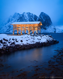 Boat shed on the small island/village of Sakrisøy in Norway's Lofoten archipelago.