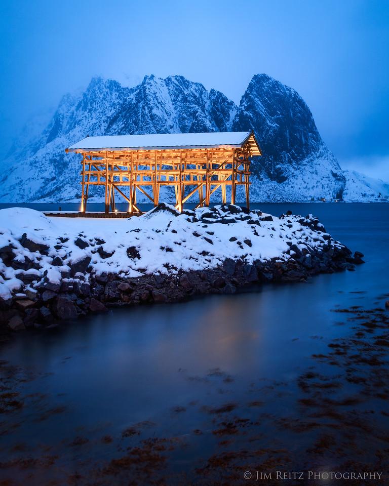 Boat shed on the small island/village of Sakrisøy in Norway's Lofoten archipelago.