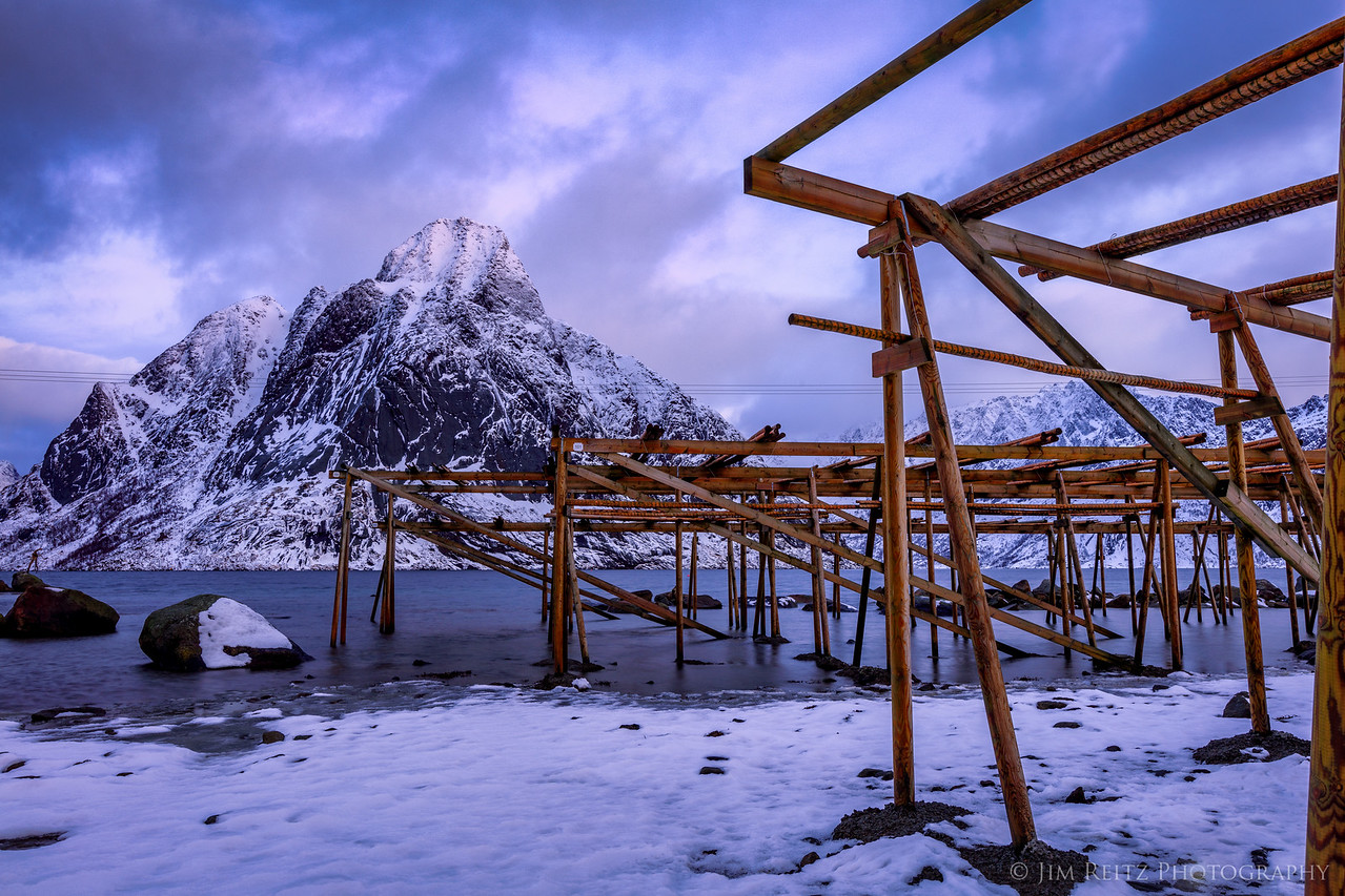 """Fish-drying racks in Reine, Lofoten, Norway. They produce """"stockfish"""", which is air-dried (not salt-cured) cod. Fish are hung on the racks between Feb. and June (we were a bit early) to dry."""