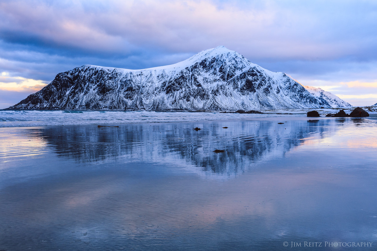 Reflection at Skagsanden Beach - Lofoten, Norway.
