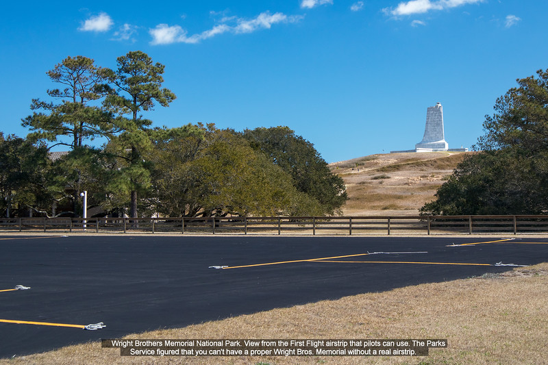 Wright Brothers Memorial National Park.  View from the First Flight airstrip that pilots can use.  The Parks Service figured that you can't have a proper Wright Bros. Memorial without a real airstrip.
