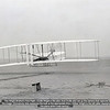 The Wright Brother's First Flight.  Orville Wright is the pilot.  And Orville also set up the camera that captured the image.  (Somebody else squeezed the bulb at the appropriate time.)  Wilber Wright to the left (after steadying the plane while it was taxiing.)