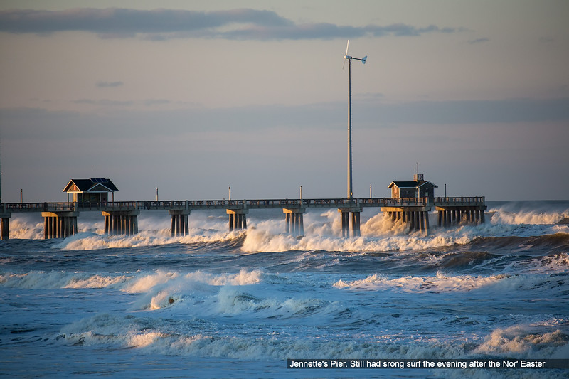 Jennette's Pier.  Still had srong surf the evening after the Nor' Easter