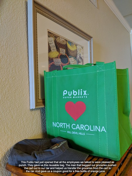 This Publix had just opened that all the employees we talked to were pleased as punch.  They gave us this reusable bag.  The man that bagged our groceries pushed the cart out to our car and helped us transfer the groceries from the cart to the car.  And gave us a coupon good for a free bottle of orange juice.