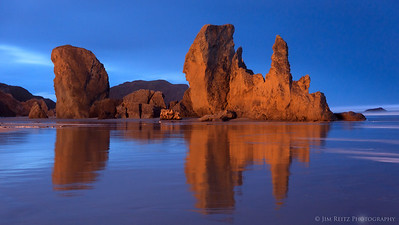 Pre-dawn reflections on Bandon Beach, Oregon.