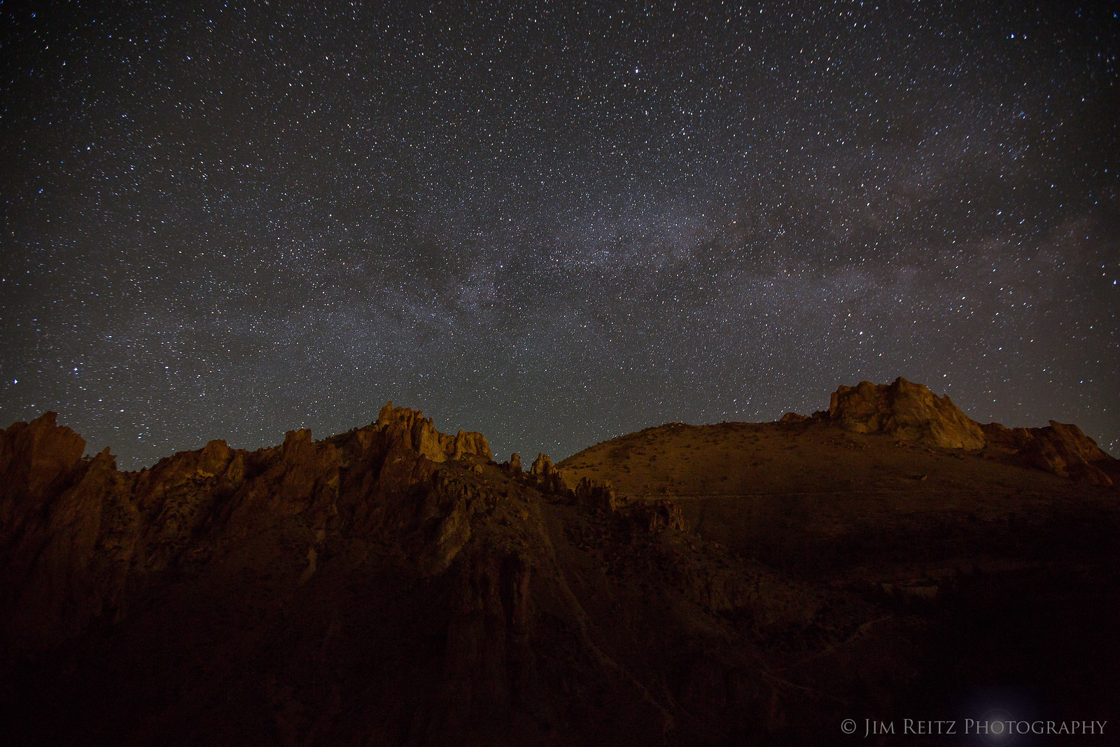 Milky Way rising over Smith Rock state park, in central Oregon.
