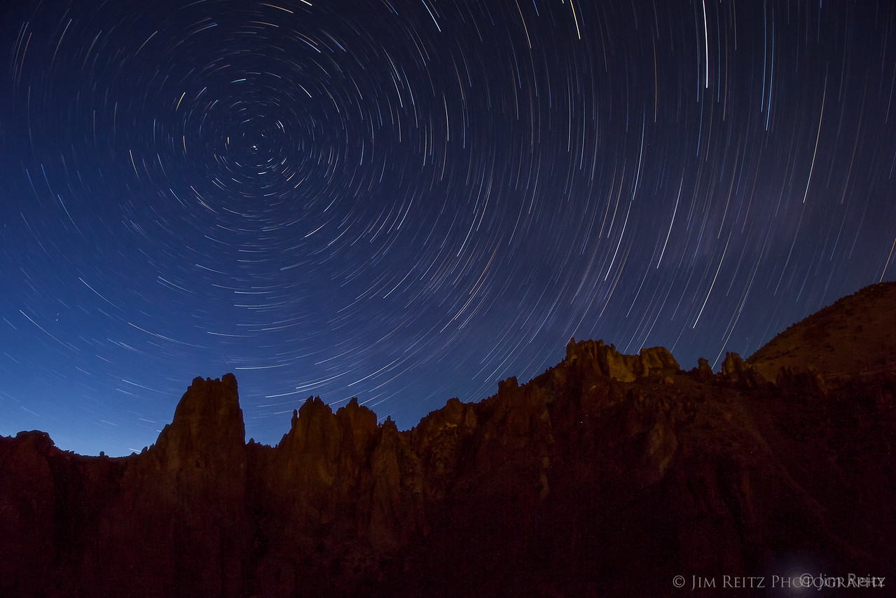 Star trails over Smith Rock state park, in central Oregon.