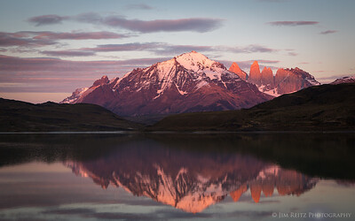 Sunrise over the Torres (towers) del Paine mountain, seen from Laguna Amarga in Patagonia, Chile