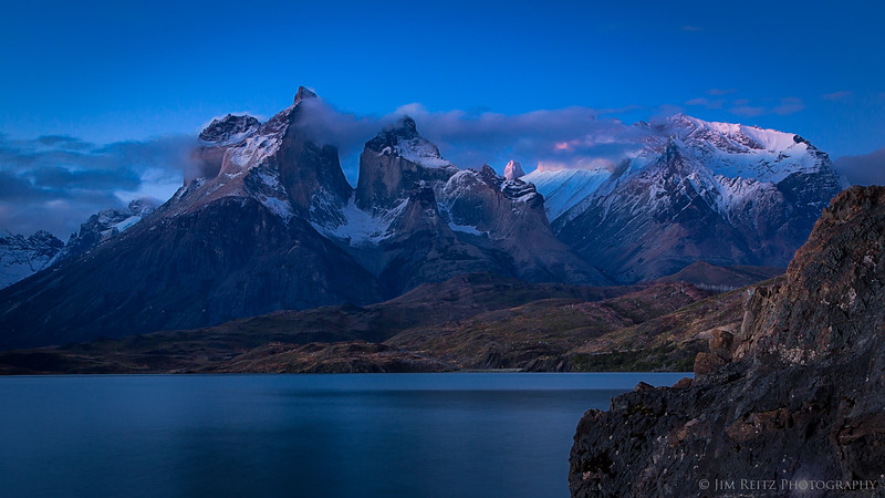 Twilight light on the Cuernos (horns) of Paine, in Chile