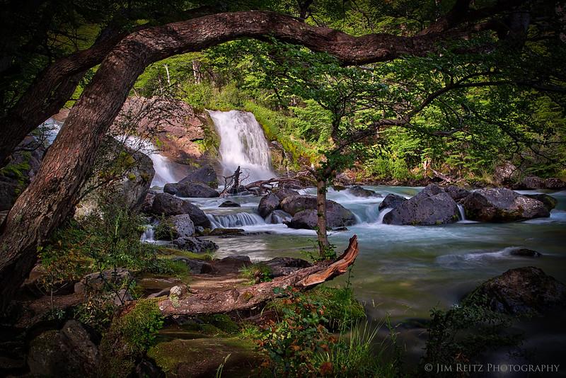 Waterfalls on the Rio del las Vueltas outside El Chalten, Patagonia, Argentina.