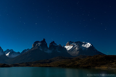 Stars and moonlight over the Cuernos del Paine.