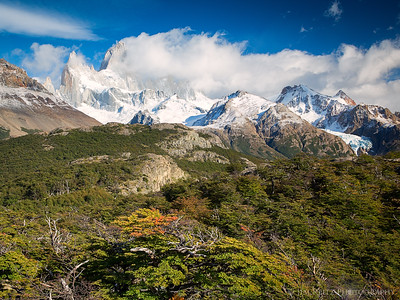 Mount Fitz Roy peeking out from behind the clouds.